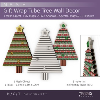 Trowix - Gift Wrap Tube Tree Wall Decor Mesh Pack