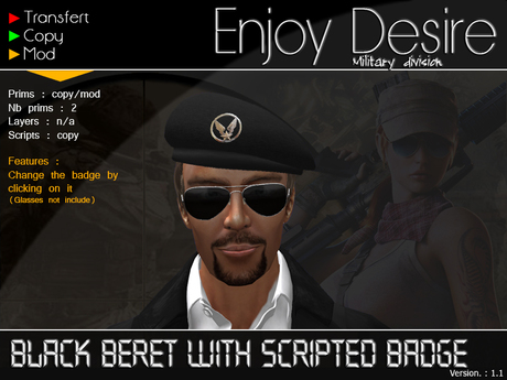 Black beret with scripted badge