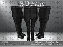SUGAR - Military Fashion Set-Pants Belt & Boots-DEMO