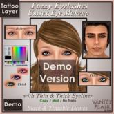 DEMO Tintable & Black Fuzzy Eyelashes with Thin & Thick Eyeliner - UNISEX Tattoo