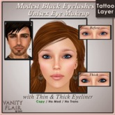 Modest Black Eyelashes with Thin & Thick Eyeliner - UNISEX Tattoo