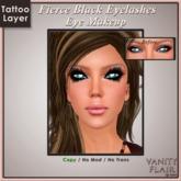 Fierce Black Eyelashes with Eyeliner - Tattoo