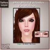 Diva Black Eyelashes with Eyeliner - Tattoo