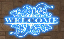 welcome neon sign blue
