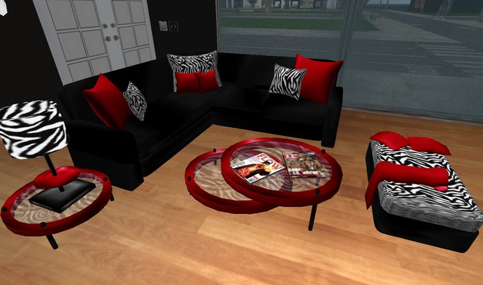 Second Life Marketplace Modern Red Black And Zebra Print Living Room Set