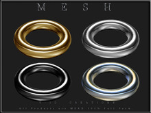 T-3D Creations [ Chain No.5 - 1 Ring - Gold / Silver / Black / Light Silver - ] Micro MESH - Full Perm -