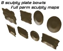 8 Sculpty plates , bowls full perm sculpty maps