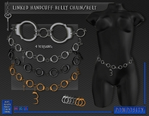 POMPOSITY - Linked Handcuff Belly Chain / Belt / Stomach - BOXED