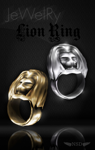 (NS) Lion Ring gold&silver