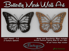 Butterfly 2 Mesh Wall Art - Full Permission - Mesh - With Normal and Spec Maps