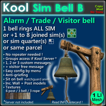 Kool Bell B - Ring all sim + joined sim(s) with 1 bell, no repeaters needed !