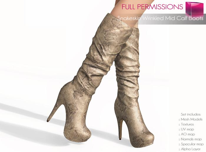 %50WINTERSALE Full Perm Mesh Snakeskin Wrinkled Mid Calf Boots