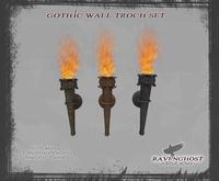 Gothic Wall Torch Set (1 PRIM)