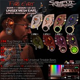 Mesh Fae Elf Ears (Shape 1) - Stetched / Plugged / Guaged