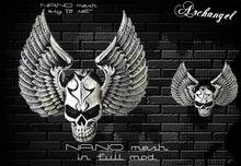 Archangel designer skull with wings silver NANO mesh