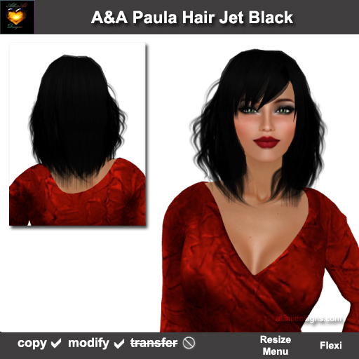 Second Life Marketplace A A Paula Hair Jet Black Special Color Medium Length Straight Hairstyle Soft Fringed Side Waves Promo Price