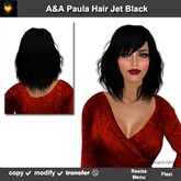 A&A Paula Hair Jet Black (Special Color). Medium length straight hairstyle, soft fringed side waves. Promo Price!