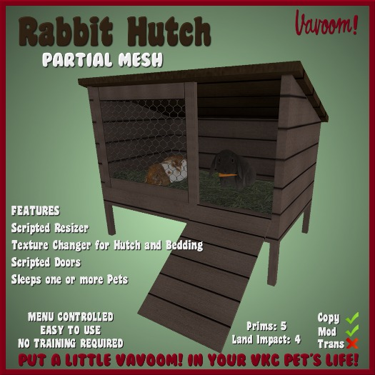 Rabbit Hutch by Vavoom! - Toys and Accessories for Virtual Kennel Club (VKC®) Dogs - Pet House - No Training Required