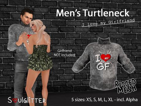 "Gift *Soulglitter* Men's Turtleneck ""I  ❤ my girlfriend"""