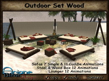 Sofa / Lounger Set Wood Outdoor with Deco & Paravent * PROMO PRICE * red Pillows