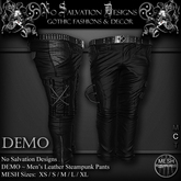 [[NS]] No Salvation Designs *MESH* DEMO Men's Leather Steampunk Cargo Pants