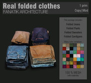 :FANATIK HOME: Real folded clothes – photo realistic décor – folded mesh pants, jeans, cardigans, sweaters