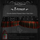 Dark Passions - Ramona - Mesh Double Belted Skirt - Red Plaid
