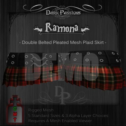 DEMO - Dark Passions - Ramona - Double Belted Mesh Skirt