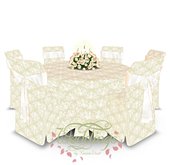 Vintage Chic Wedding Table, Chair & Centerpiece Set - Trans Only