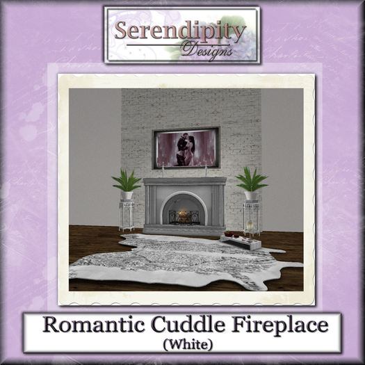 Serendipity Designs - Romantic Cuddle Fireplace  - White