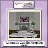 Serendipity Designs - Romantic Cuddle Fireplace  - White