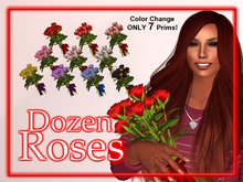 DOZEN ROSES in a Vase (10 Colors!) for Valentine's Day ♥ ONLY 7 Prims (Includes Roses in Vase and Rose Bouquet to wear)