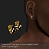 EARRING-HUGGIE BLACK / GOLD        -RYCA-