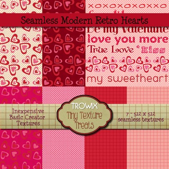 Trowix - Seamless Modern Retro Hearts Textures