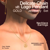 Delicate Gold Chain w/logo Jewellery Set