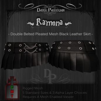 Dark Passions - Ramona - Double Belted Mesh Skirt in Black Leather