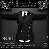[[NS]] No Salvation Designs *MESH* DEMO Men's Double Breasted Suit Coat w/ Tie ~ Gothic Couture Collection ~