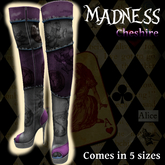 ~Song~ Madness {Cheshire} Over the Knee Mesh Boots