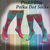 ~Song~ Pink&Blue Polka Dot Socks *Mesh* High Heel Calf