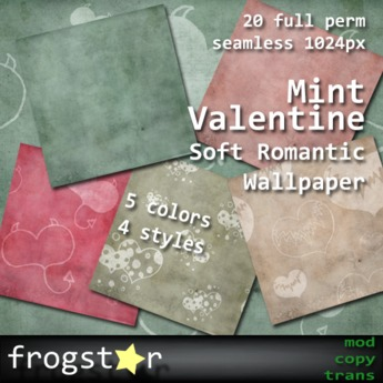 GIFT! Frogstar - Mint Valentine Soft Romantic Wallpaper
