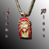 Jesus Piece Chain Gold N RED