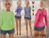 (2Chez) Vivi Wash Denim Micro Shorts& Hoodie with 8 Color HUD, Rigged Mesh + NonRigged Mesh Ankle Boots