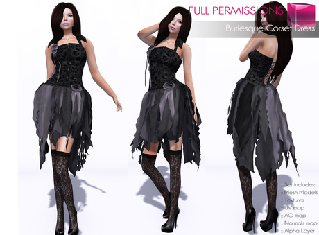 Full Perm Rigged Mesh Burlesque Corset Dress
