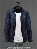 {Fe Style} Denim Jacket w/Shirt /DarkBlue & White