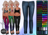 Rigged Mesh Tight Skinny Jeans Pants - 150 Colors Blue Black Gray Purple White Denim Orange Green Red Brown Khaki Pink