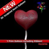 1 Prim Coração balão w / ribbon - Eu te amo - Red - Balões Cidade Xntra