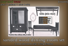 [croire] Sanded Wood Dining Room Set (wood china/curio cabinet, dining room table, and chairs included. 3 wood colors!)