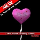 1 Prim Heart Balloon w/ribbon - I love you - Pink - Xntra City Balloons