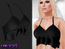 .::voxxi::.  Frilled Mesh Top Black
