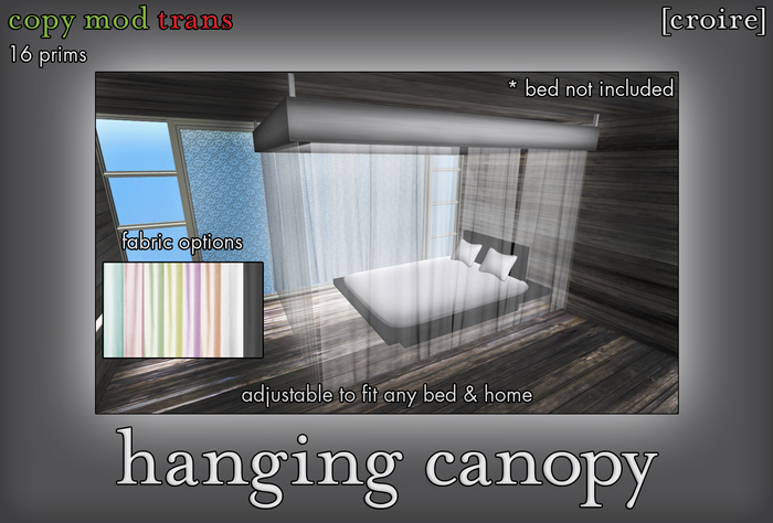 [croire] Hanging Ceiling Canopy (Resizable, 2 sizes included, 8 color options) Beautiful, romantic, girly bedroom decor.